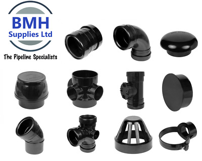 110mm UPVC Black Soil Pipe Push Fit Ring Seal Fittings, Internal/External Use • 4.75£