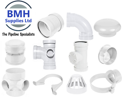 110mm UPVC White Soil Pipe Push Fit Ring Seal Fittings, Internal/External Use • 4.75£