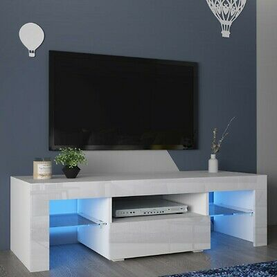 Modern TV Unit Cabinet Stand With RGB LED Lights & 1 Drawers & 2 Glass Shelves • 72.85£