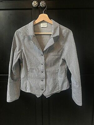 Caroline Charles Fitted Striped Shirt Blouse Size 10 • 4.75£