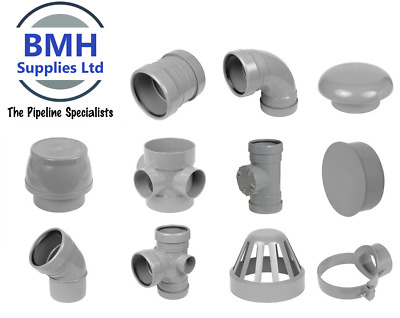 110mm UPVC Grey Soil Pipe Push Fit Ring Seal Fittings, Internal/External Use • 4.75£