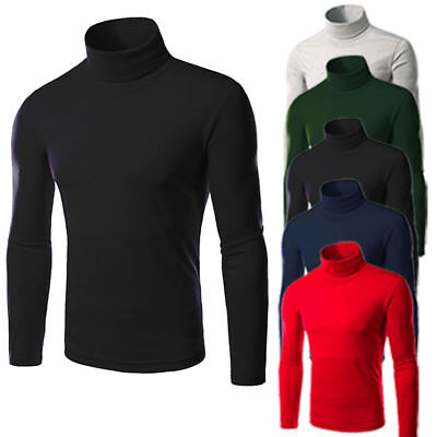 Mens Roll Turtle Neck Pullover Long Sleeve Knitted Jumper Tops Sweater T-Shirt • 10.89£