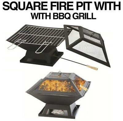 Square Fire Pit Bbq Grill Heater Outdoor Garden Firepit Brazier Patio Outside • 53.99£