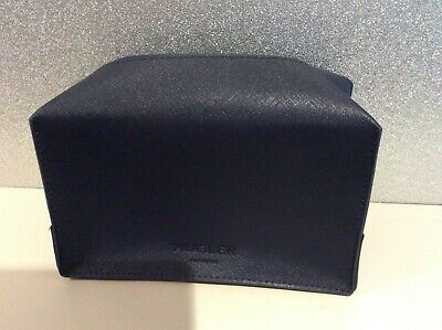 Mugler Mens Navy Blue Faux Leather Travel Shaving Toiletries Wash Bag New • 6.99£