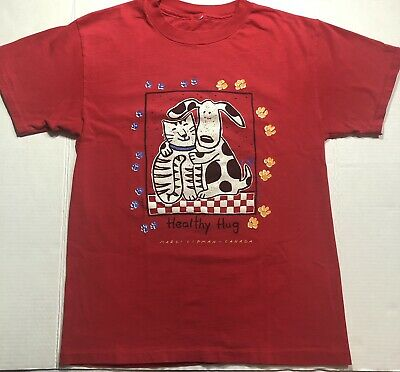 $ CDN30 • Buy 1996 Vintage Men T-shirt Size M / Healthy Hug / Marci Lipman Design / Purina