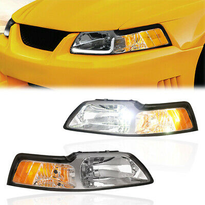 $70.91 • Buy 2PCS Front Chrome Housing Clear Lens Headlights Assembly For 99-04 Ford Mustang