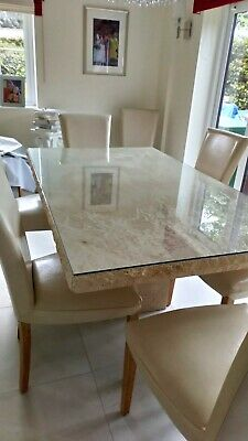 Stocktons - Italian Marble Dining Room Table, 8 Cream, Real Leather, Chairs • 1,000£
