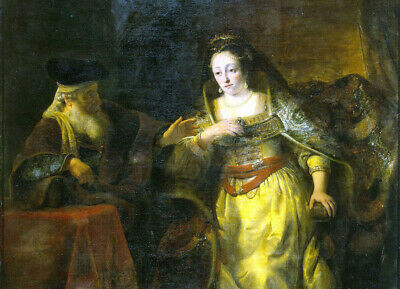 $ CDN88.24 • Buy Oil Painting Ferdinand Bol Esther And Mardochai Woman With Old Man Hand Painted