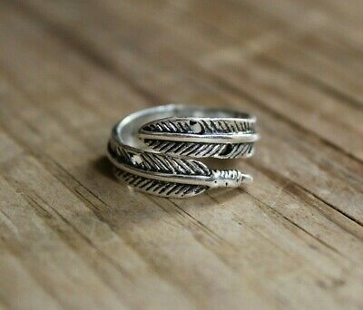 £2.99 • Buy Retro Antique Silver Adjustable Feather Plume Ring