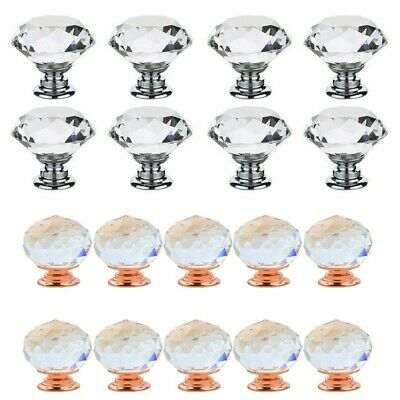 5/10 Pcs Door Knobs Handles Clear Crystal Glass Cupboard Drawer Cabinet Kitchen • 4.29£