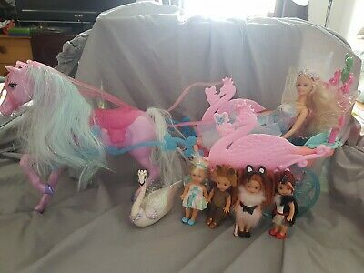 Barbie Swan Lake Horse And Carridge, Odette Light Up Doll, Shelly Dolls X 4 • 59.99£