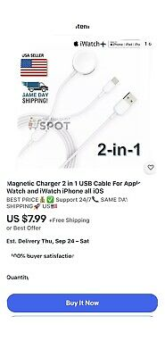 $ CDN7.25 • Buy 2in1 Magnetic Charger USB Charging Cable For IPhone Apple Watch IWatch Series