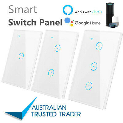 AU29.90 • Buy Smart Home Wifi Wall Light Touch Panel Switch App For Alexa Google Home 1-3 Gang