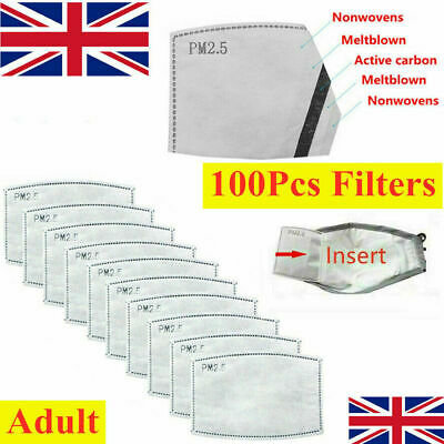 100 X PM2.5 Filter For Washable Reusable Face Mask 5 Layer With Activated Carbon • 8.99£