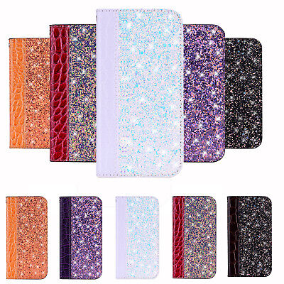 Glitter Bling Leather Flip Wallet Cover Case For Huawei Y6 Y7 Y9 Prime P Smart • 4.59£