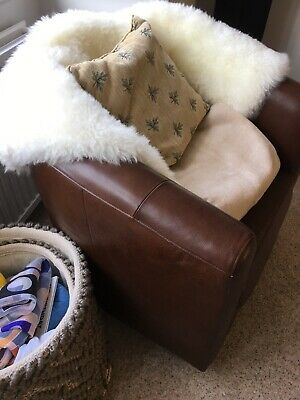 M&S Brown Leather Bucket Chair, Very Good Condition  • 148.50£