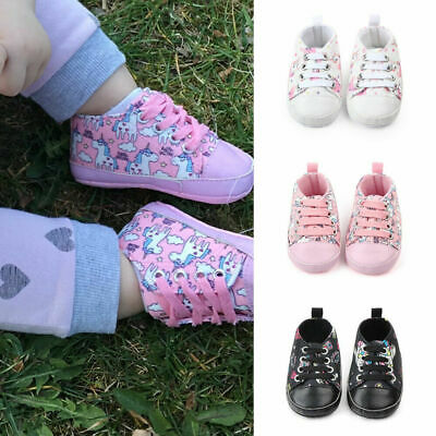 Newborn Baby Girls Unicorn First Walkers Shoes Soft Sole Casual Sneaker Trainers • 5.39£