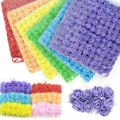 144Pcs Mini Artificial Flowers Small Foam Rose Heads Wedding Party Decor Bouquet • 4.99£