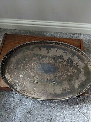 Vintage Viners Of Sheffield Chased Serving Tray • 10£
