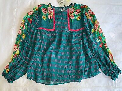 $ CDN67.01 • Buy $128 NWT BL-NK Eclectic Peasant Blouse Top Teal Green Floral ANTHROPOLOGIE XS S