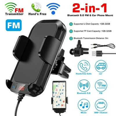 Bluetooth FM Transmitter Car Kit Wireless Radio Adapter USB Charger Phone Holder • 17.99£