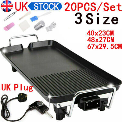 Electric Table Top Grill Griddle BBQ Hot Plate Camping Cooking Cast Iron Pan UK • 26.59£