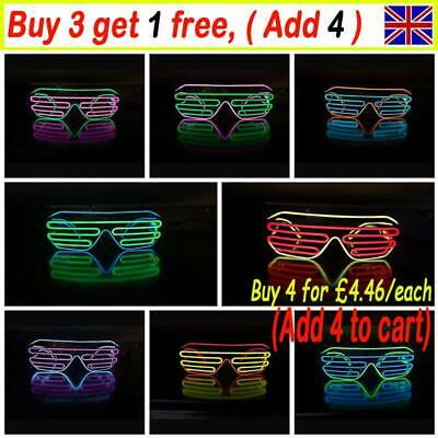 LED Shutter Shades Flashing Glasses Rave Club Party Fancy Dress Light Up TA • 5.49£
