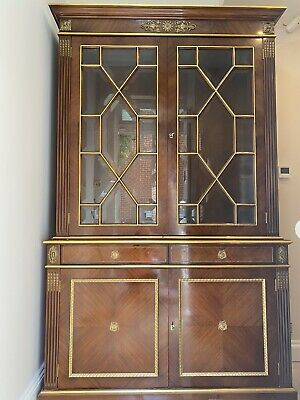 Beautiful Tall Sideboard Cupboard 2 Pieces Solid Dark Wood French Style • 995£
