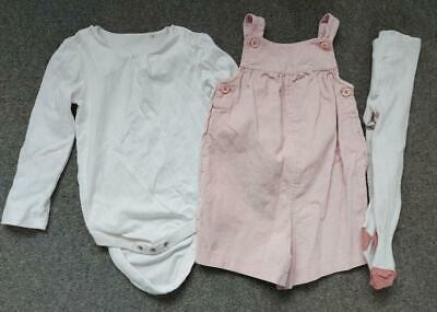 Girls, 3 Piece Outfit,  Shorts Dungarees, Bodysuit And Tights,  12-18 Months • 2.99£