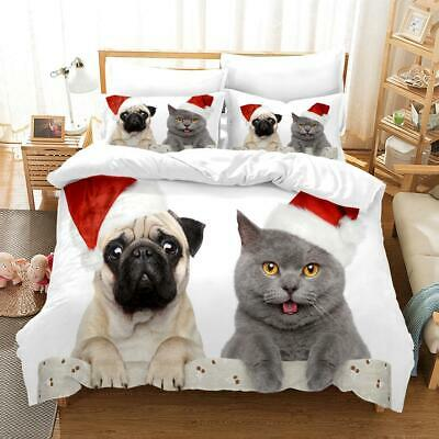 Pet Christmas Outfit Duvet Cover Dogs Cats Bedding Set Sing Double King Size • 27.94£