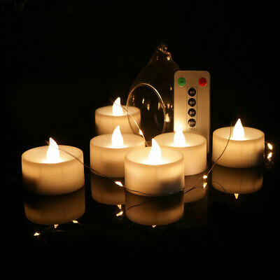 LED Candle Lights 6 Keys Electronic Remote Control Rechargeable Tea Light Flamel • 9.99£