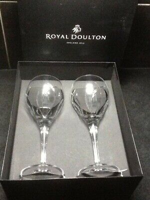 Pair Royal Doulton Crystal Cut Glass Large Wine Glasses • 17.50£
