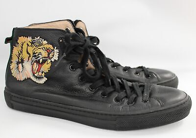 Men's GUCCI Black Leather Tiger Embroidered Baseball Boots UK 8.5 G - E08 • 32£