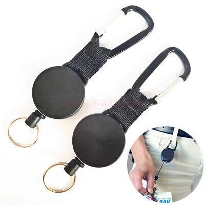 £5.18 • Buy 2 X Pull Ring Stainless Steel Heavy Duty Retractable Key Chain Recoil Keyring
