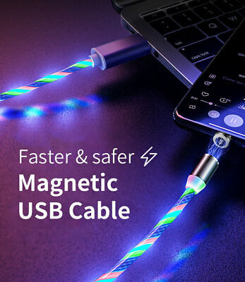 LED Flowing Light Up Magnetic Charger Charging Cable For IOS Type C Micro USB UK • 4.45£