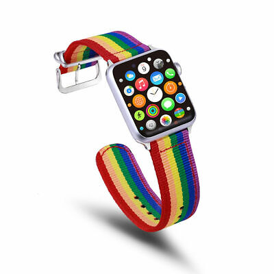 AU14.99 • Buy Rainbow Watch Band Nylon Canvas Strap For Apple Watch Seried IWatch 6 5 4 3 2 SE