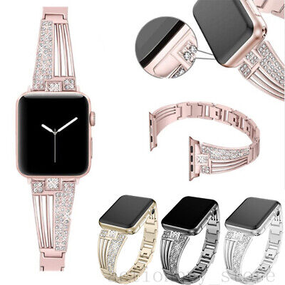 AU21.99 • Buy Bling Diamond Metal Watch Band Strap For IWatch Apple Watch Series 5 4 3 2 SE