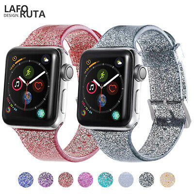 AU16.99 • Buy Lady's Silicone Glitter Watch Band For Apple Watch Series 6 5 4 3 2 1 SE 40/44MM