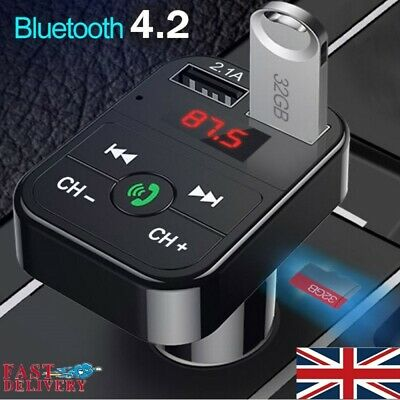 Bluetooth Car Kit MP3 Player FM Transmitter Wireless Radio Adapter 2 USB Charger • 6.95£