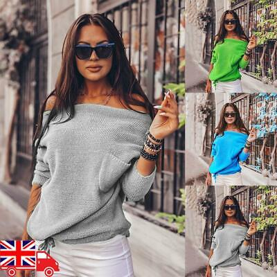 Womens Off The Shoulder Chunky Knit Jumper Ladies Oversized Baggy Sweater Top UK • 12.09£