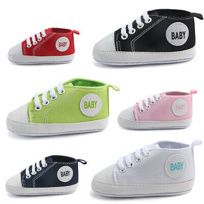 Baby Newborn Boys Girl Canvas Sneakers Infant Toddler Soft Crib Shoes Prewalkers • 5.39£