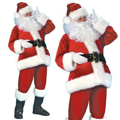 Santa Claus Costume Father Christmas Flannel Suit Mens Adult Fancy Dress Outfit • 21.99£