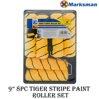 9  8pc Paint Roller Set Tray 6 Tiger Sleeves Diy Emulsion Decorating Painting  • 8.95£
