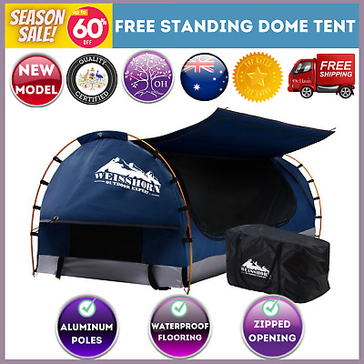AU209.69 • Buy Swag King Single Camping Swags Canvas Free Standing Dome Tent Blue