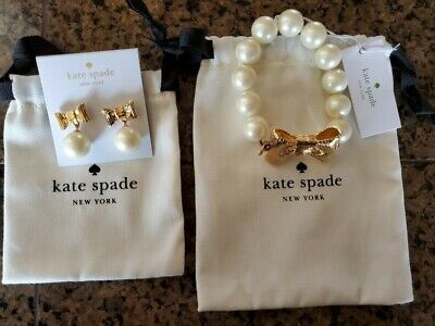 $ CDN93.84 • Buy Kate Spade All Wrapped Up In Pearls Earrings & Bracelet Gold Toned Bow NEW