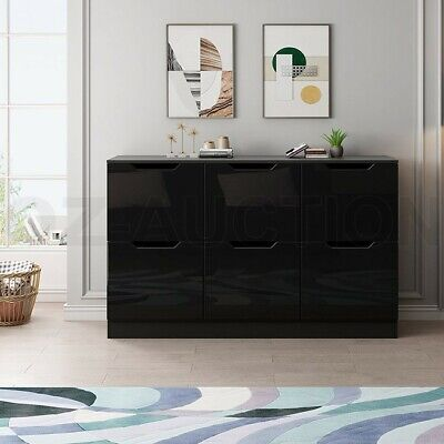 AU209.95 • Buy New 6 Chest Of Drawers Tallboy Dresser Table Storage Bedroom Gloss Cabinet Black