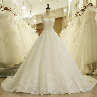 $ CDN164.42 • Buy Princess Strapless Wedding Dresses Sweetheart Lace Appliques A Line Bridal Gown