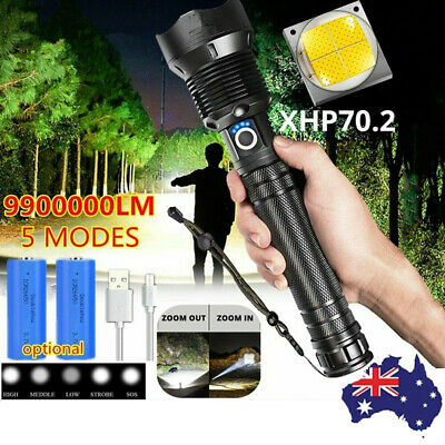 AU37.79 • Buy AU Powerful 990000LM Tactical 5 Mode XHP70.2 Zoom Flashlight LED Hunting Torch
