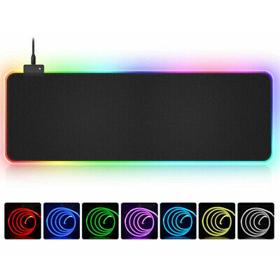 AU21.69 • Buy RGB Gaming Mouse Pad Extended Keyboard Mat LED Lighting Colorful For PC Laptop