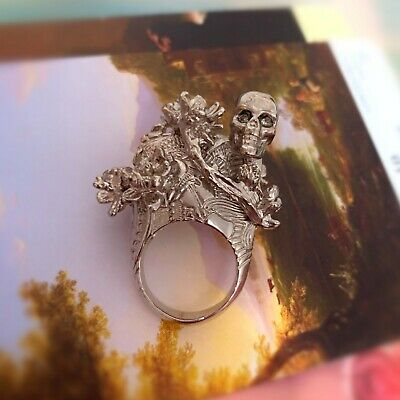 AU100 • Buy Alexander McQueen Mini Skull & Cherry Blossom Ring Silver 2011 Collection